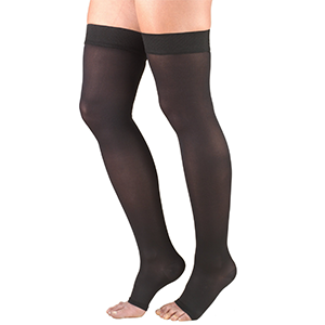 Ladies' Thigh High Open Toe Opaque Stockings in Black