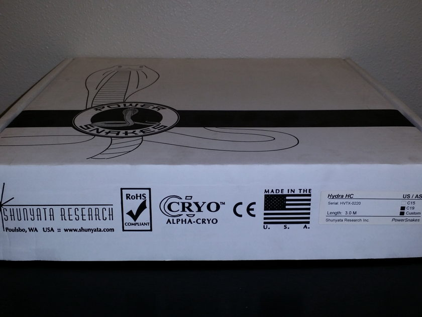 Shunyata Research Hydra HC C19 Extension Cable 3.0 Meter Store Demo See Pictures for Terminations
