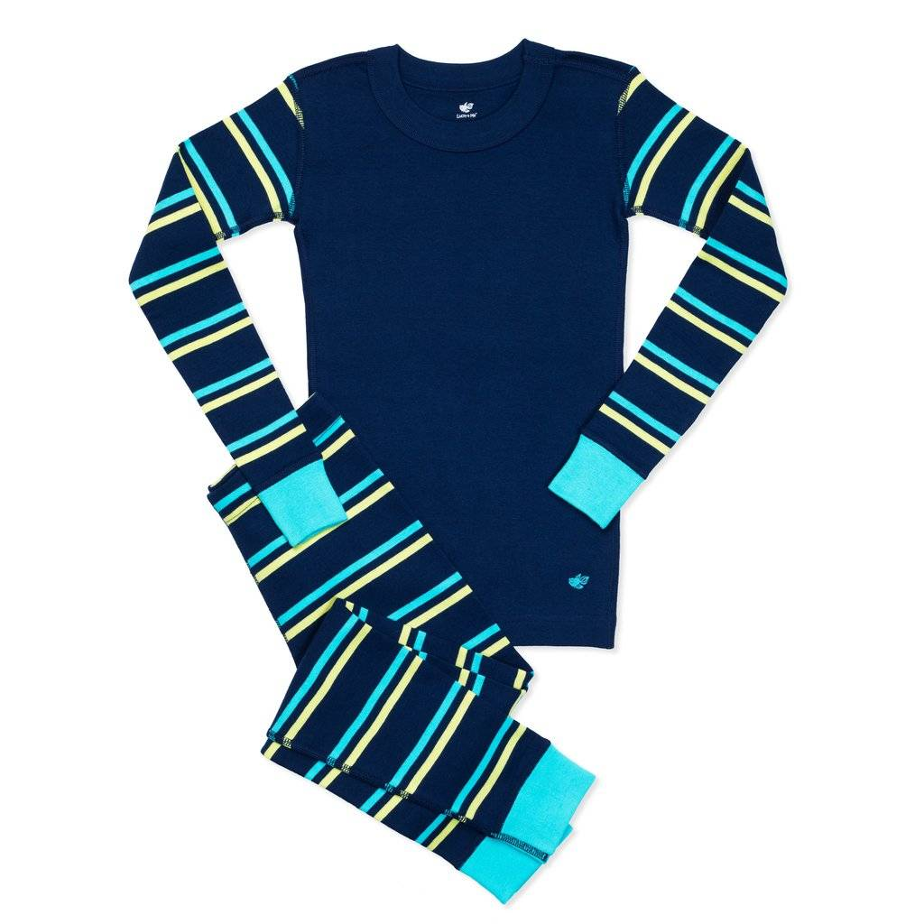 Mason Girls Organic Cotton Pajamas Navy Stripe
