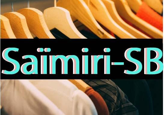 Il y a un portant avec plusieurs modèles de Tee-Shirt, Pull, et Sweat à capuche sur des cintres à l'intérieur d'un magasin de vêtements de Surf et de Skate. Sur le devant, est écrit Saïmiri-SB qui est le nom de la marque de prêt-à-porter sportwear.