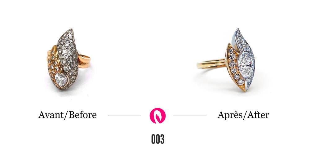 Bague en or deux tons en forme de goutte avec petits et gros diamants transformée légèrement en modernisant la forme initiale tout en disposant les diamants différemment, le plus gros diamant complètement au centre.