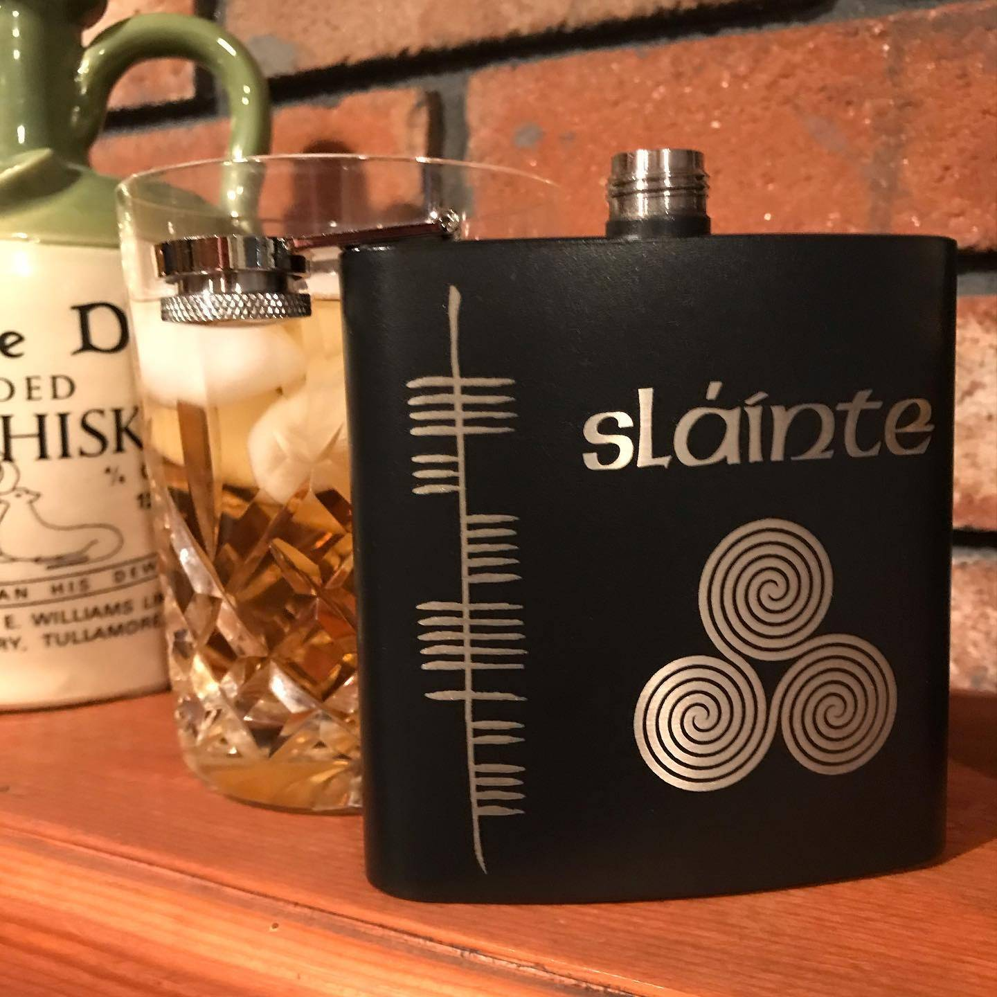 Ogham Art  Celtic Festival Online Stainless Steel Health Sláinte Flask
