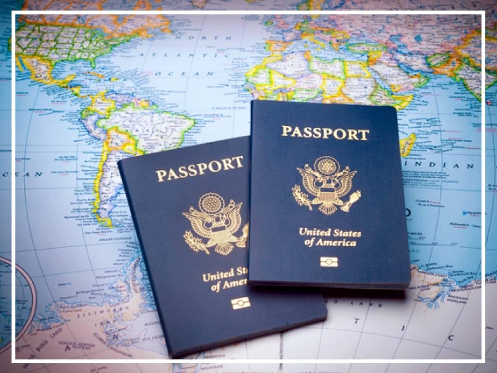 passports on a world map