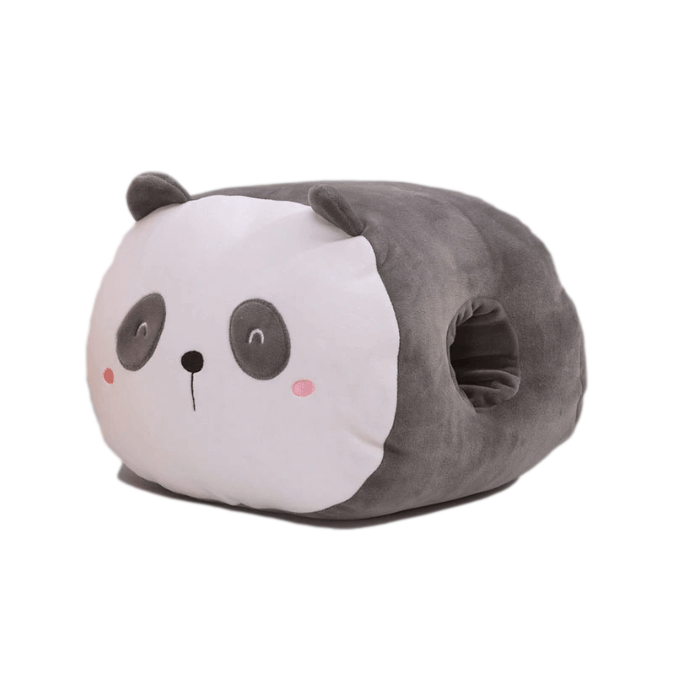 coussin panda gris deux mains