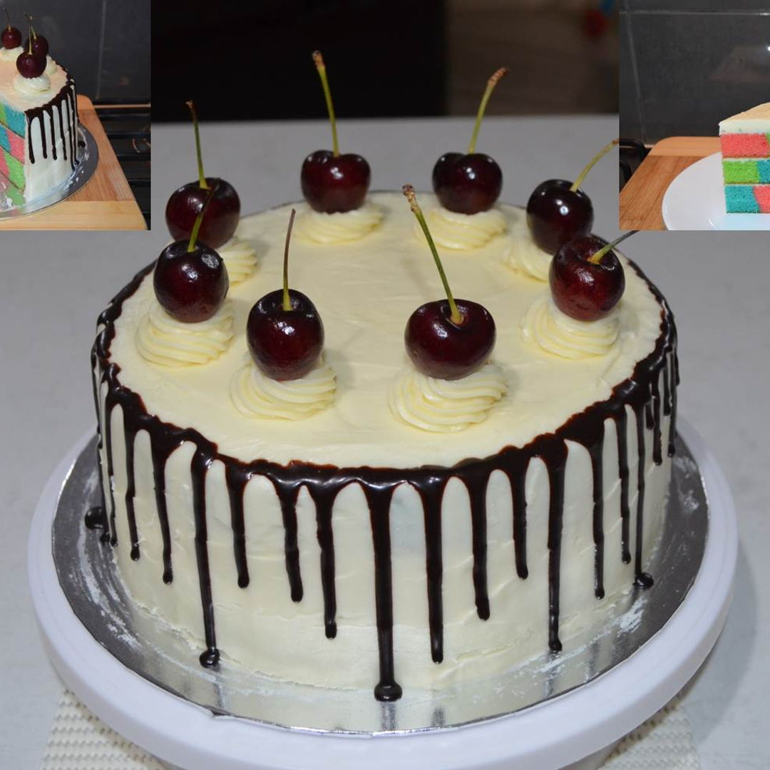 Date: 5 Feb 2020 (Wed) 19th Cake: 3-Colour Variation Checkerboard Chocolate Drip Cake with Cherry Toppings [205] [139.2%] [Score: 9.0] Cuisine: Western Dish Type: Cake This is a trial cake for my granddaughter coming birthday.