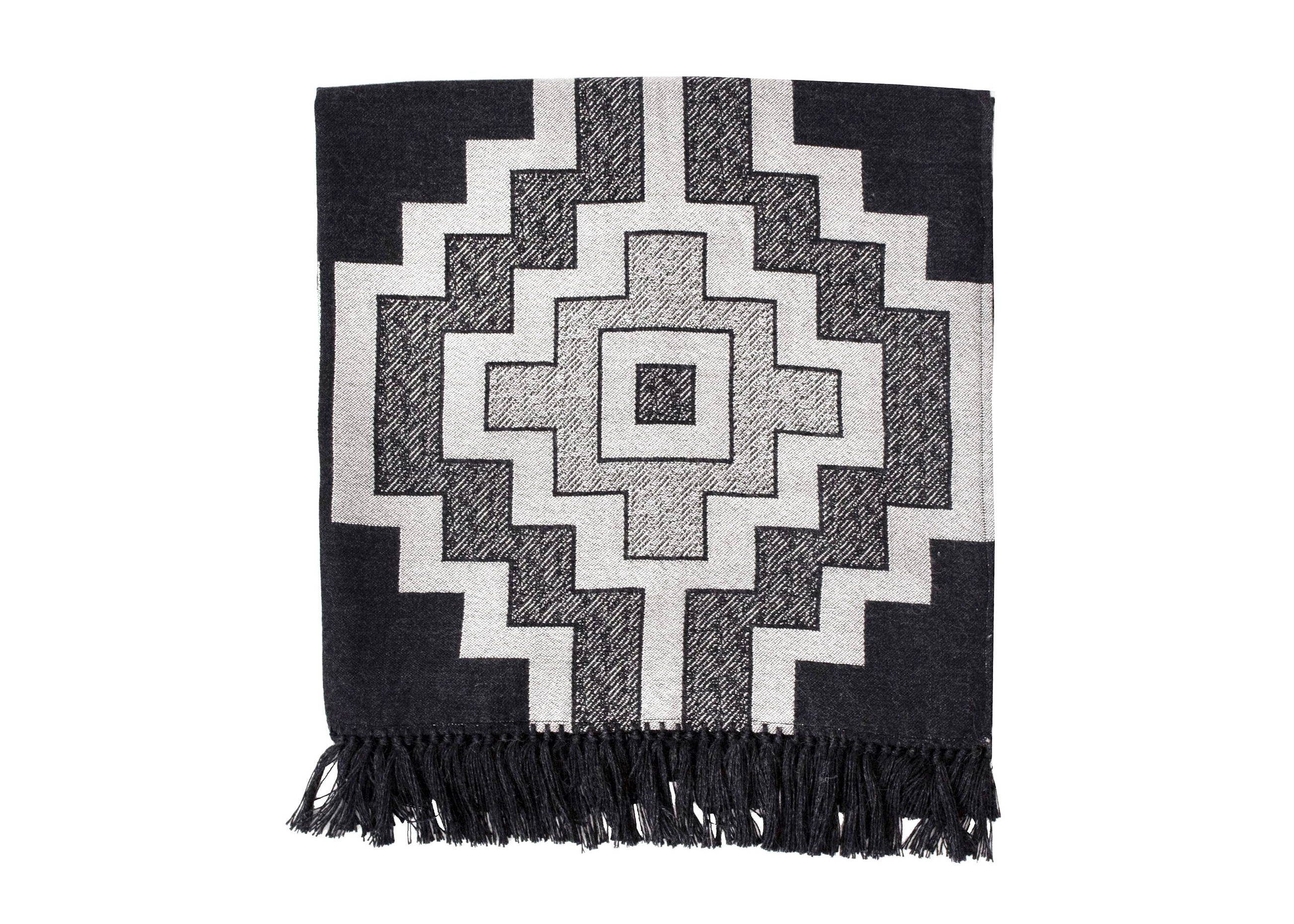 Alpaca Pampa Motif Throw Blanket in Charcoal - Stick & Ball