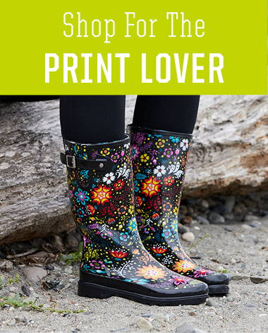 Shop women's rain boots with fun prints this holiday season.