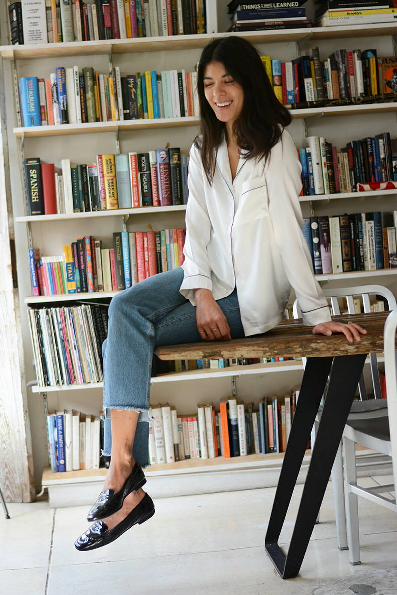 Neada Jane in YOLKE's White Silk Button Down