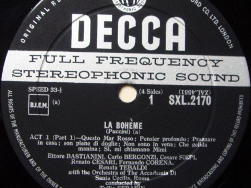 DECCA SXL-WB-ED1 / SERAFIN-TEBALDI, - Puccini La Bohme, NM, 2LP Box Set!