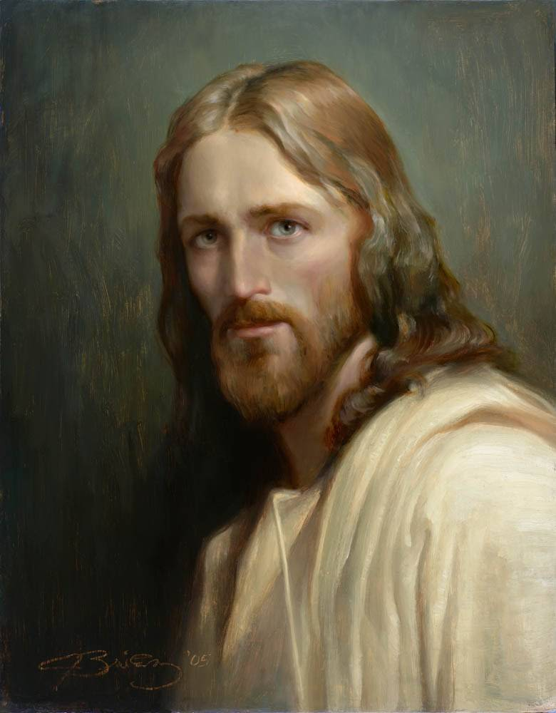 Angled portrait of Jesus painted in a classical style.