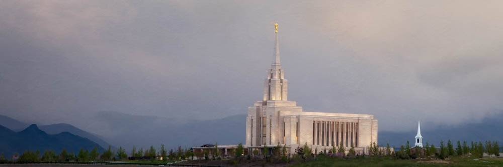 LDS art panoramic photo of the Oquirrh Mountain Temple against a purple, cloudy sky.