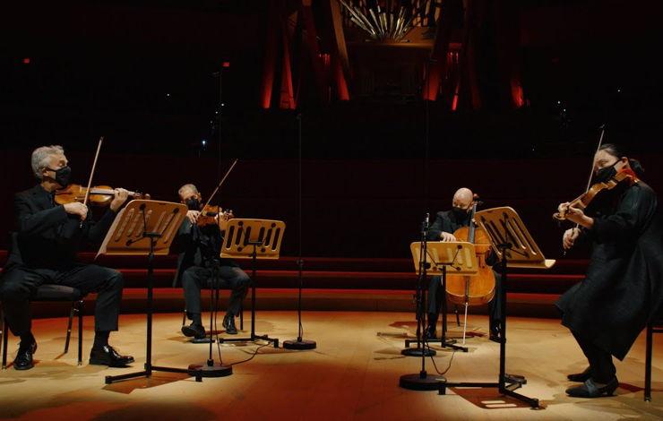 LA Phil quartet performs at Walt Disney Concert Hall, with masks