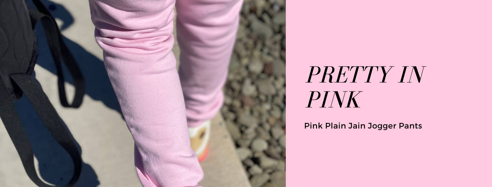 Pink Cotton Fleece Jogger Pants For Tall girls