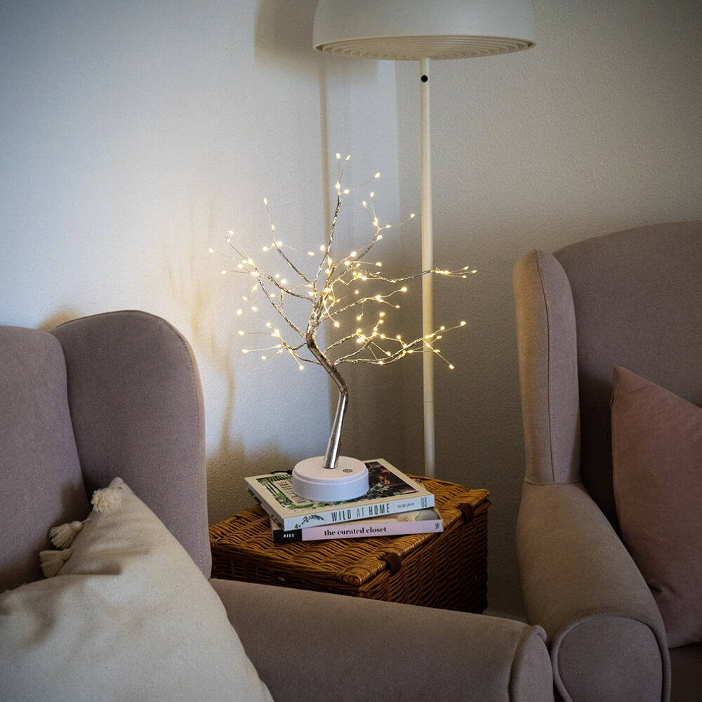 Fairy light trees - glowing sparkly fair light tree with LED lights, powered by batteries or USB cable