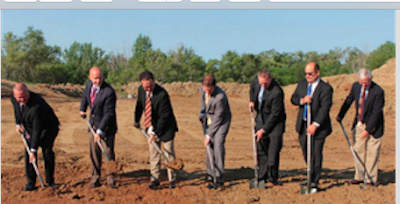 Members of the NorthStar board break ground on the new 45,0000 square-foot building, which should be complete in the fall of 2016. [l.-r.] Bill Wostoupal, Eric Clarke, Todd Clarke, Daniel Applegarth, Brian Nielsen, Andrew Rogers, Larry Fazzini