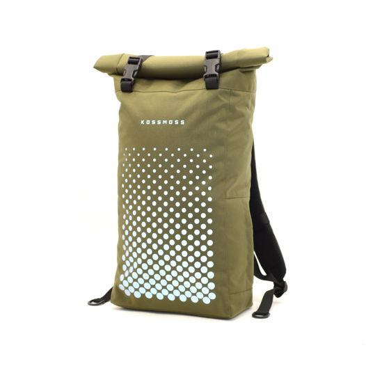 Оливковый рюкзак для ноутбука / Olive Laptop Backpack / Сумка со светоотражающим принтом