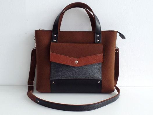 Коричневая сумка-портфель из фетра и натуральной кожи