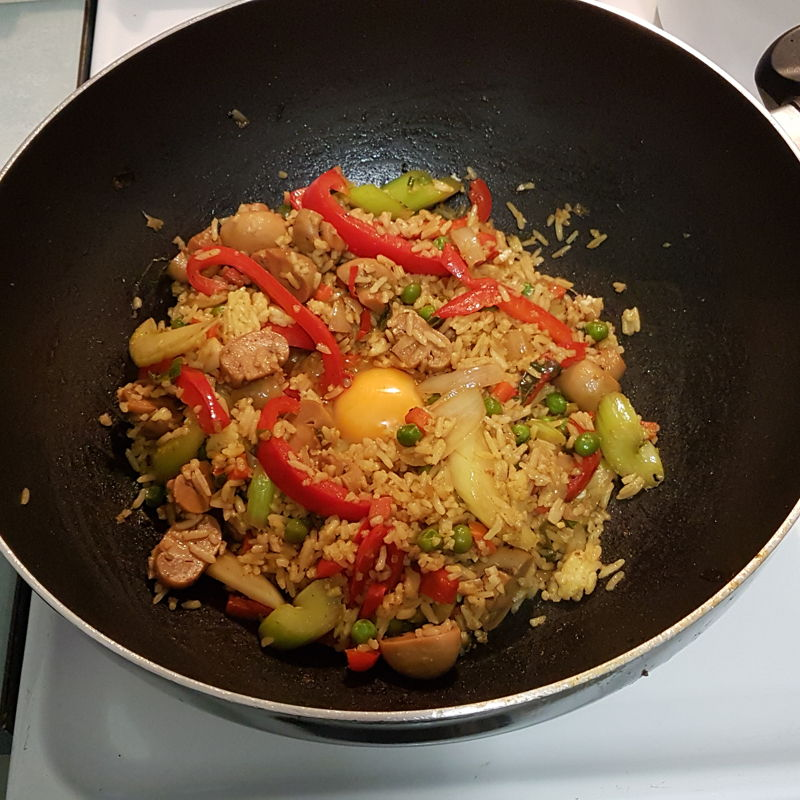 I used the Pineapple Fried Rice recipe as inspiration to use left over rice and some vegetables. I included mushrooms, celery, capsicum and some frozen peas. Follow the Nyonya Cooking recipe but use whatever ingredients you have.