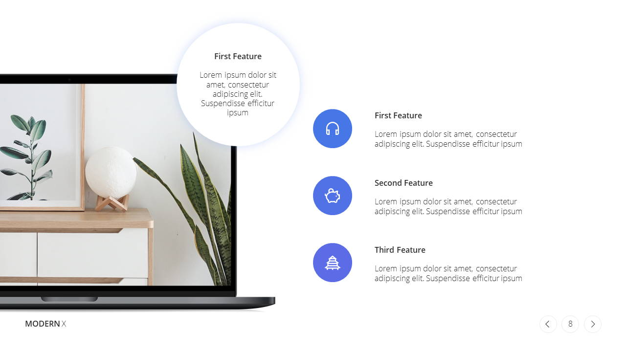 Modern X  Company Profile Presentation Template Product Overview