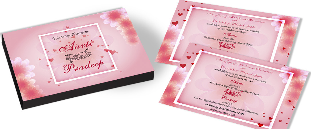 Traditional Invitation for Wedding with Heart Theme