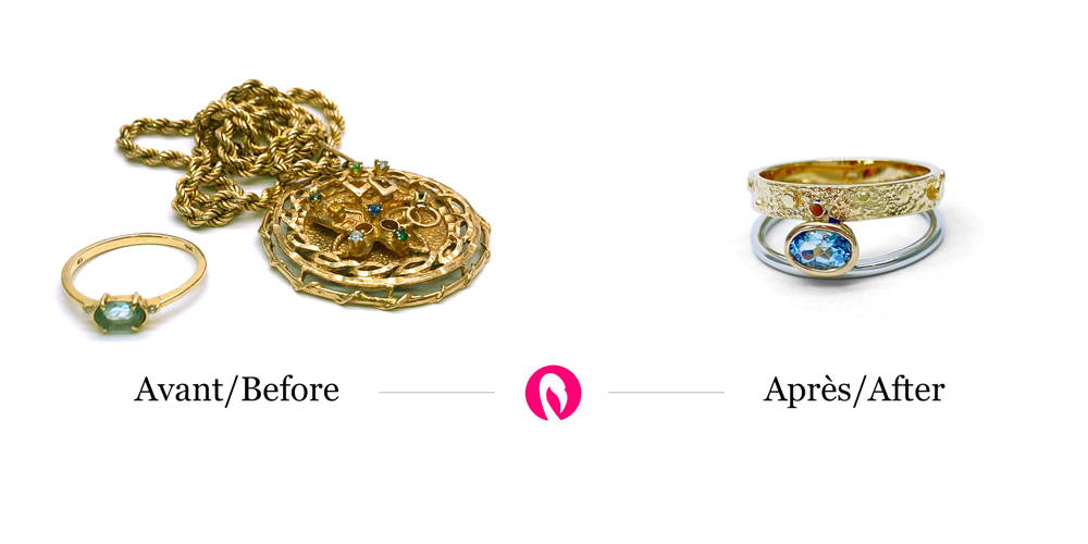 A big pendant and a small gold ring turns into a two-color ring from Flamme en rose with a topaz.