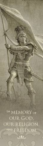 Bookmark featuring an LDS art drawing of Captain Moroni by Joseph Brickey.