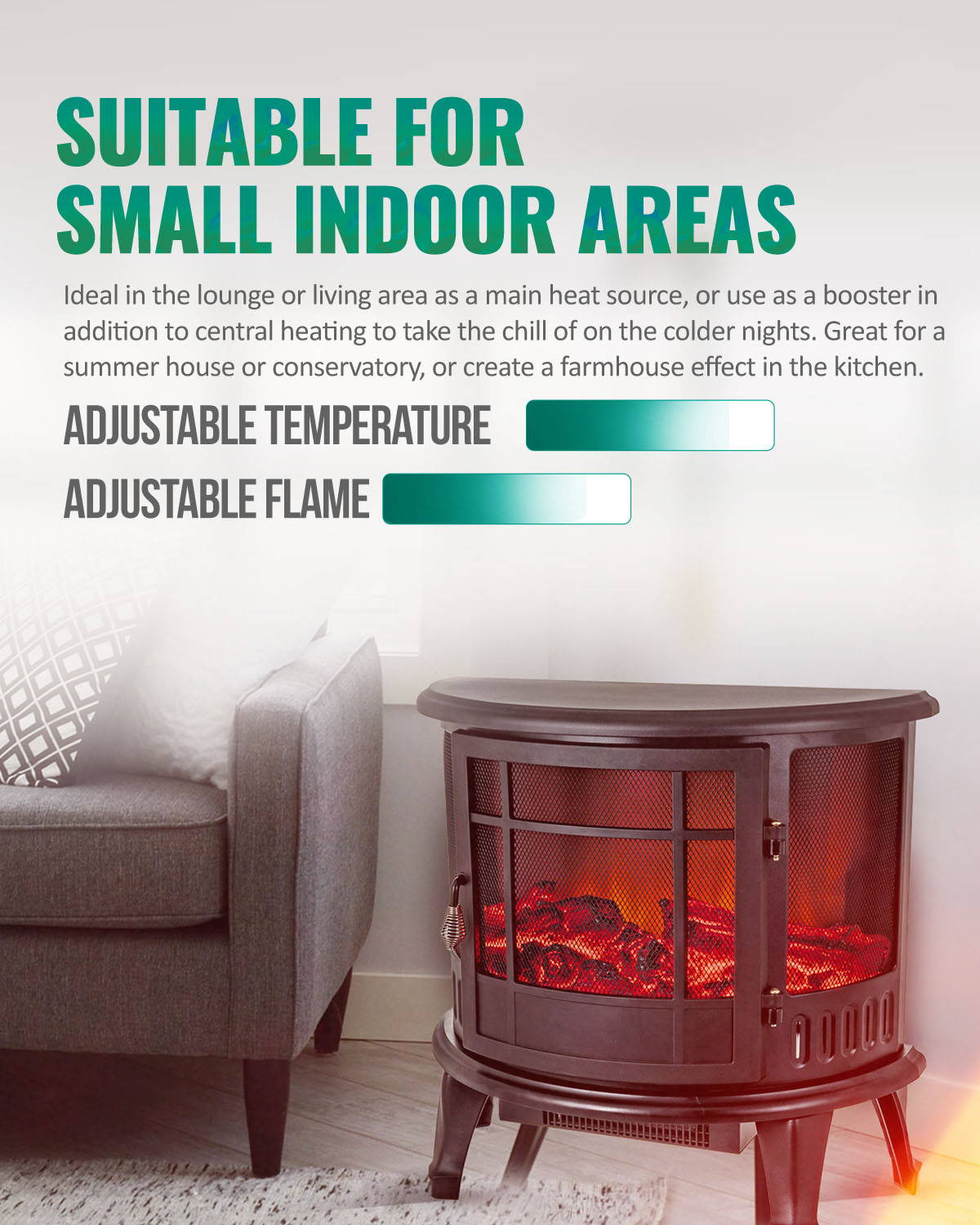 Suitable for small indoor areas