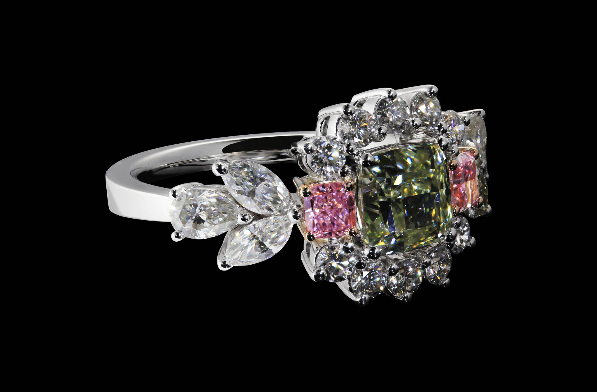 Floral Diamond Ring side view