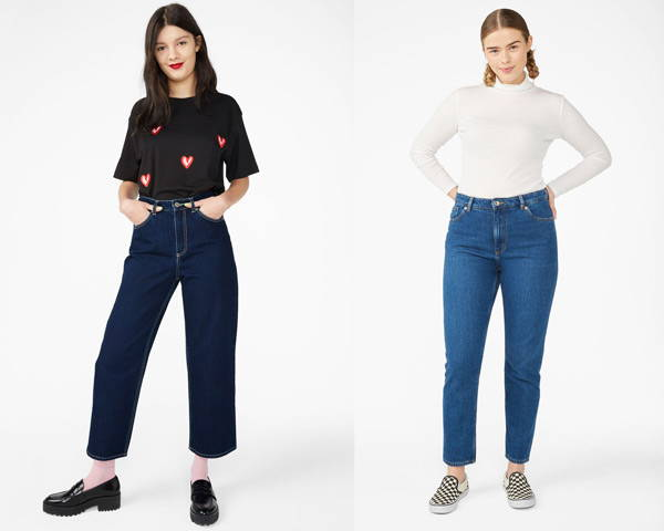 Woman wearing cropped indigo organic cotton jeans from sustainable brand Monki