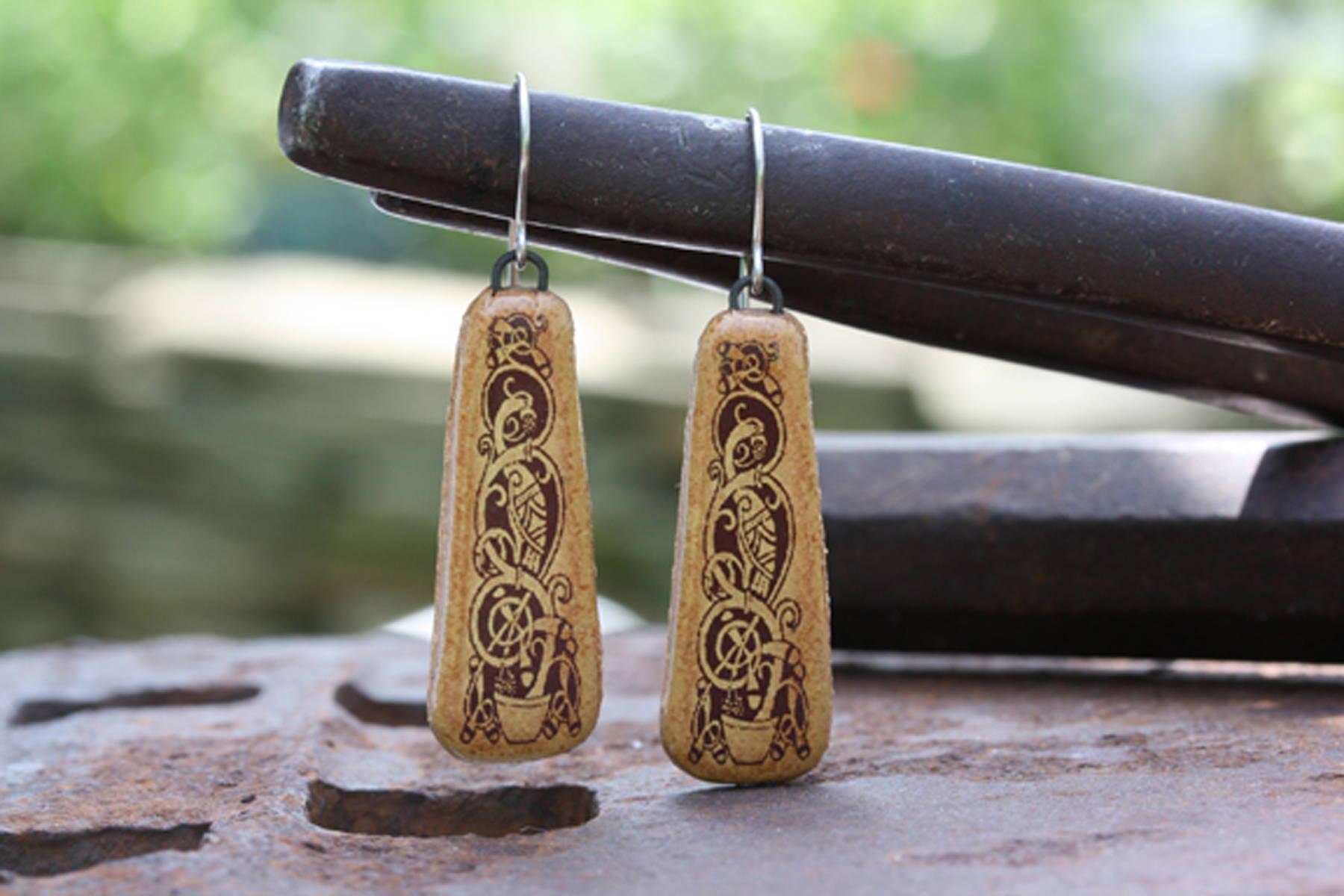 Earthen Craft Pottery Celtic Festival Online Kells Bird Earrings