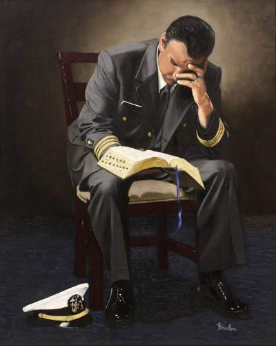 Marines official reading from the scriptures.