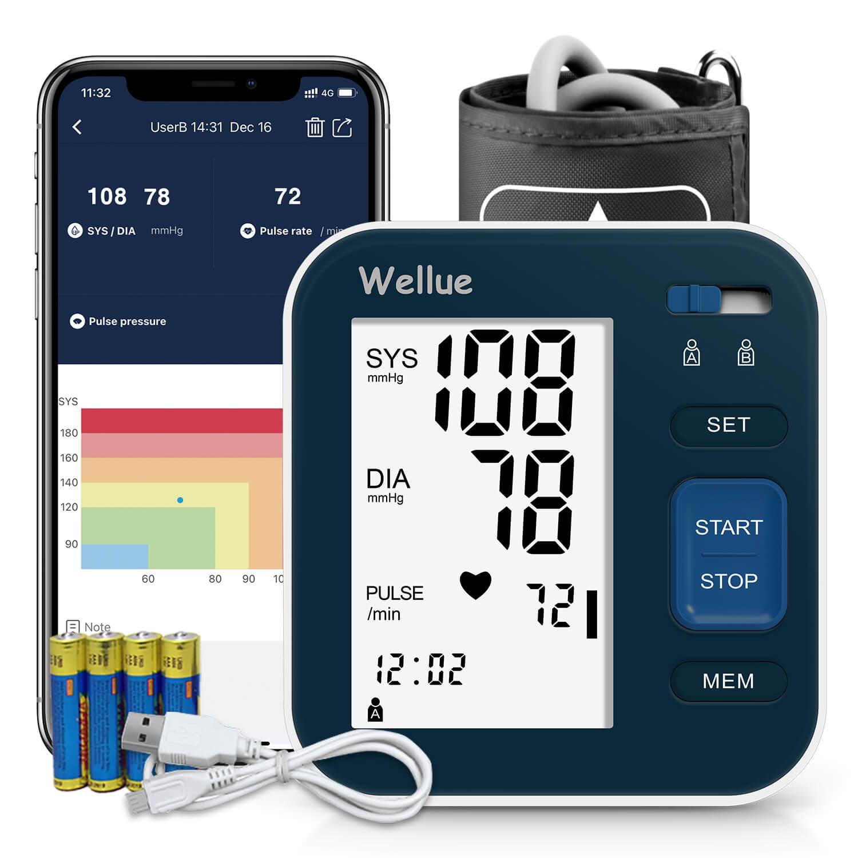 Tensiomètre Bluetooth Wellue pour le haut du bras en bleu foncé.