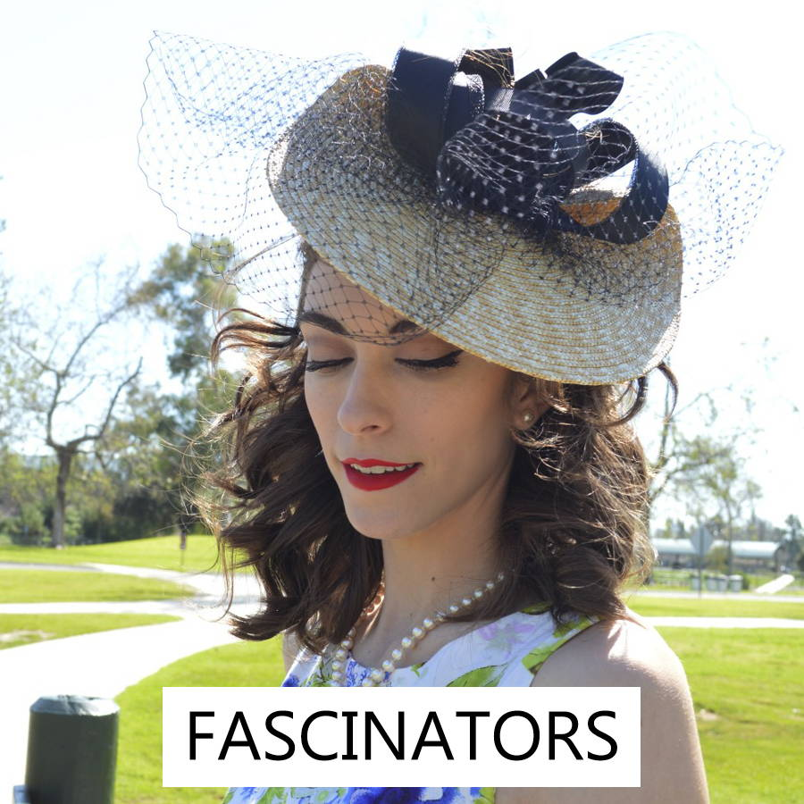 Women's fascinators  are feminine styles for derby races or tea parties.