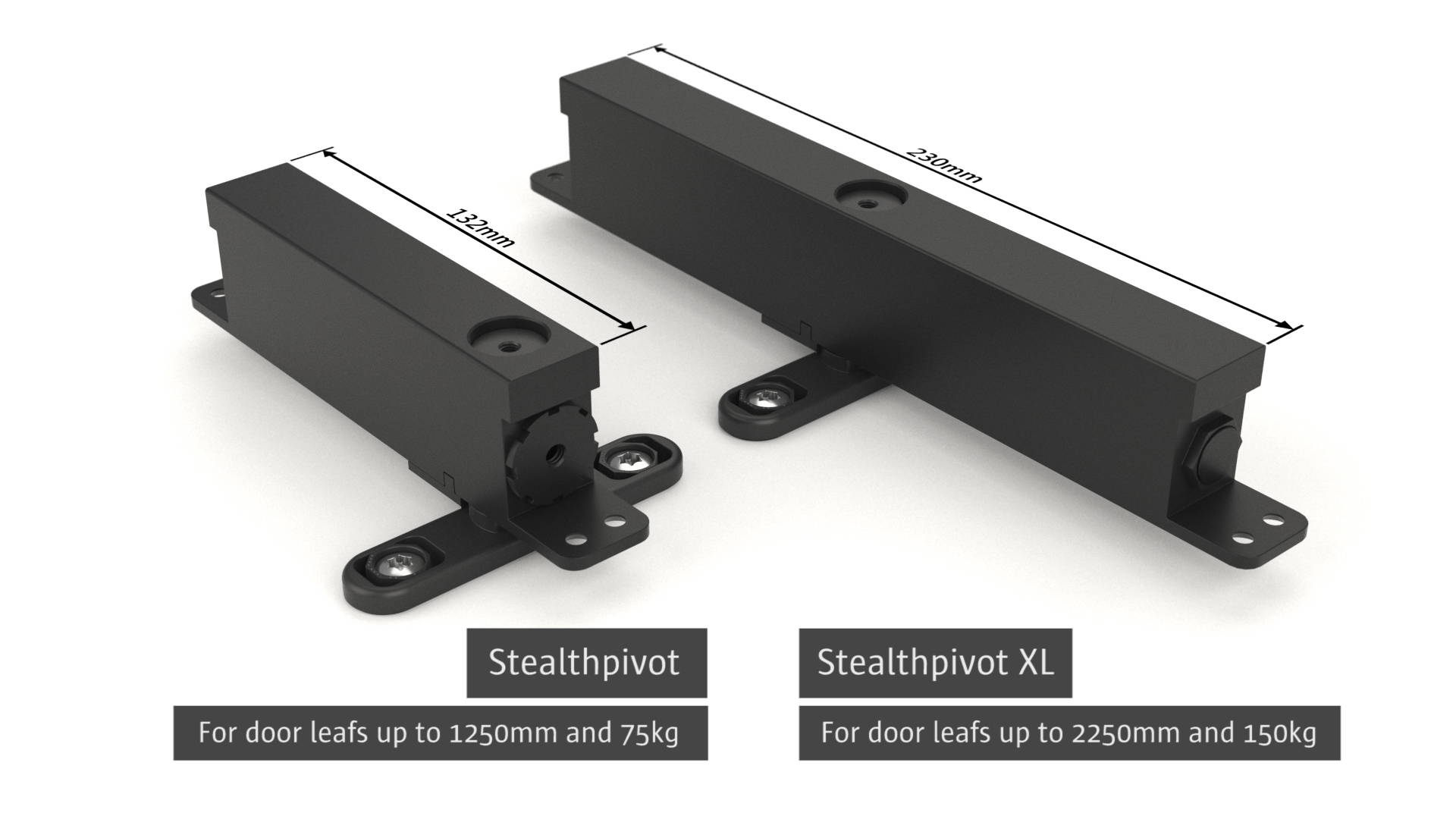 compact self-closing pivot hinges Stealth Pivot