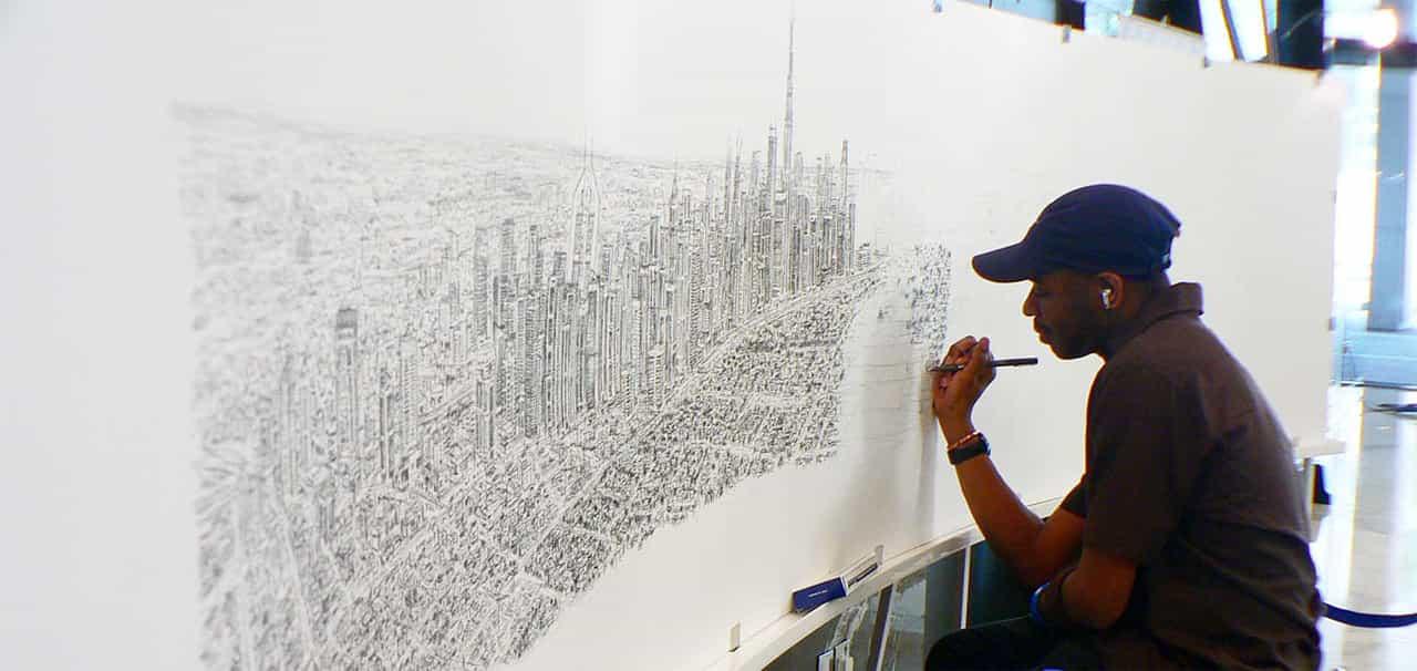 Stephen Wiltshire draws Dubai Panorama