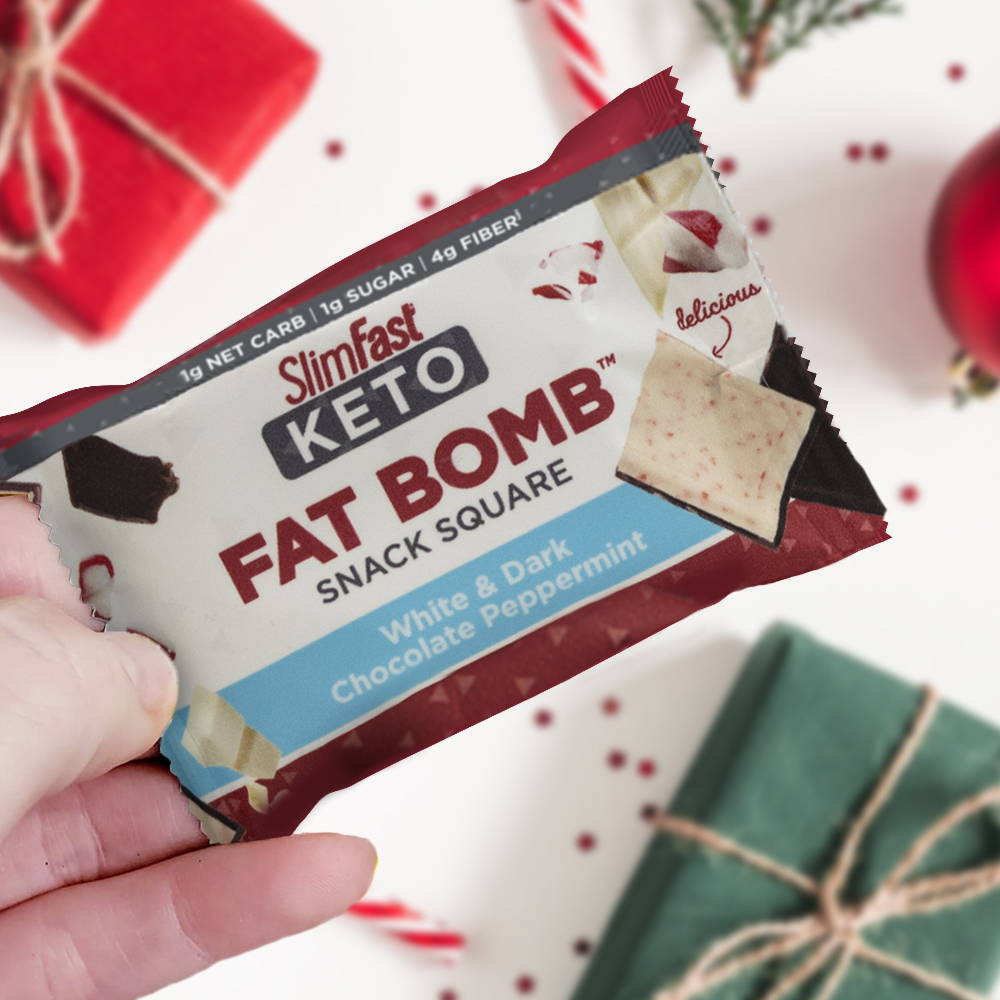 Products SlimFast Keto Fat Bomb White & Dark Chocolate Peppermint Snack Square- lifestyle image