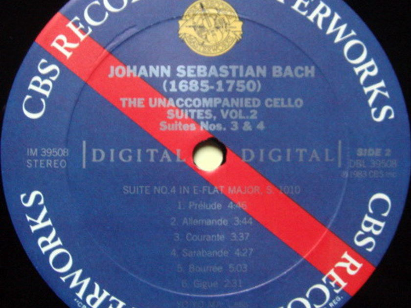 CBS Digital / YO-YO MA, - Bach The Unaccompanied Cello Suite No.3 & 4, MINT!