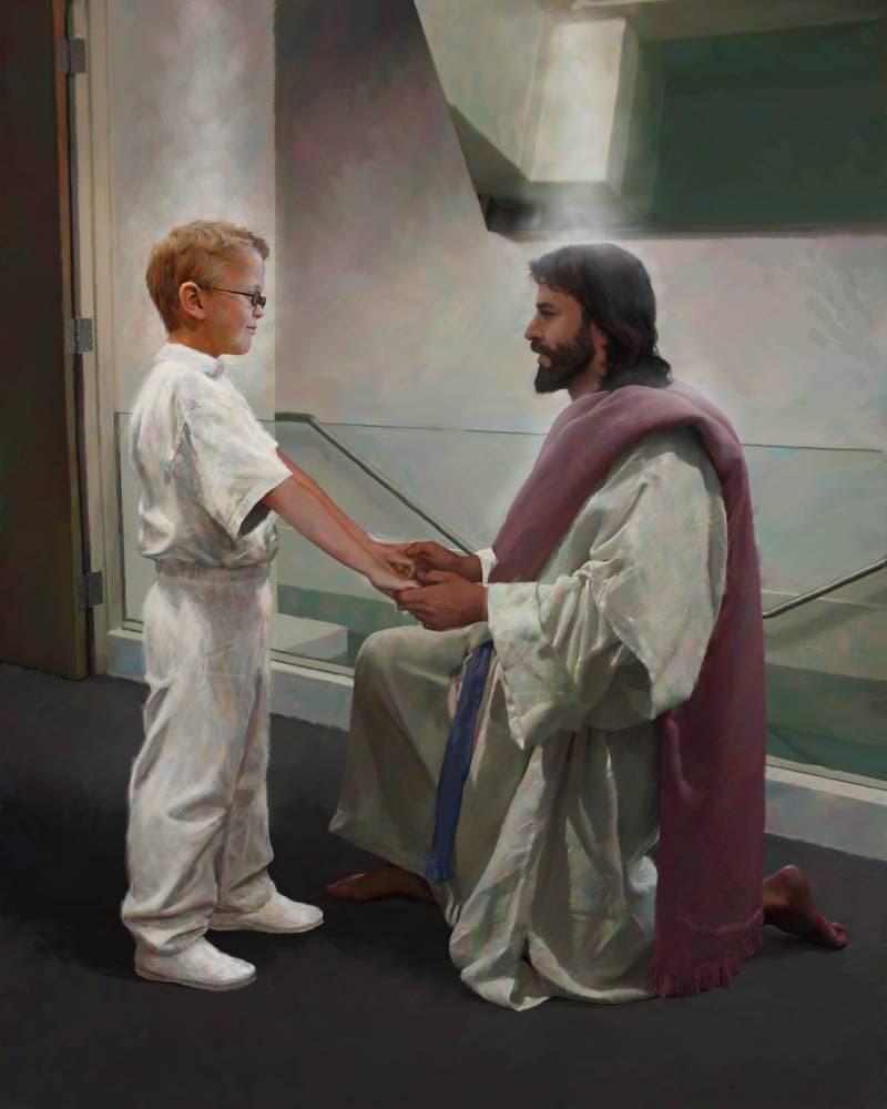 LDS art of Jesus kneeling next to a boy near a baptismal font.