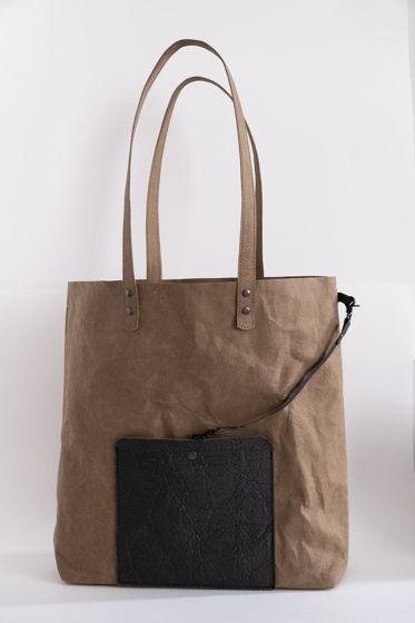 сумка шоппер крафтовой бумаги и piñatex, размер М, цвет тауп+графит