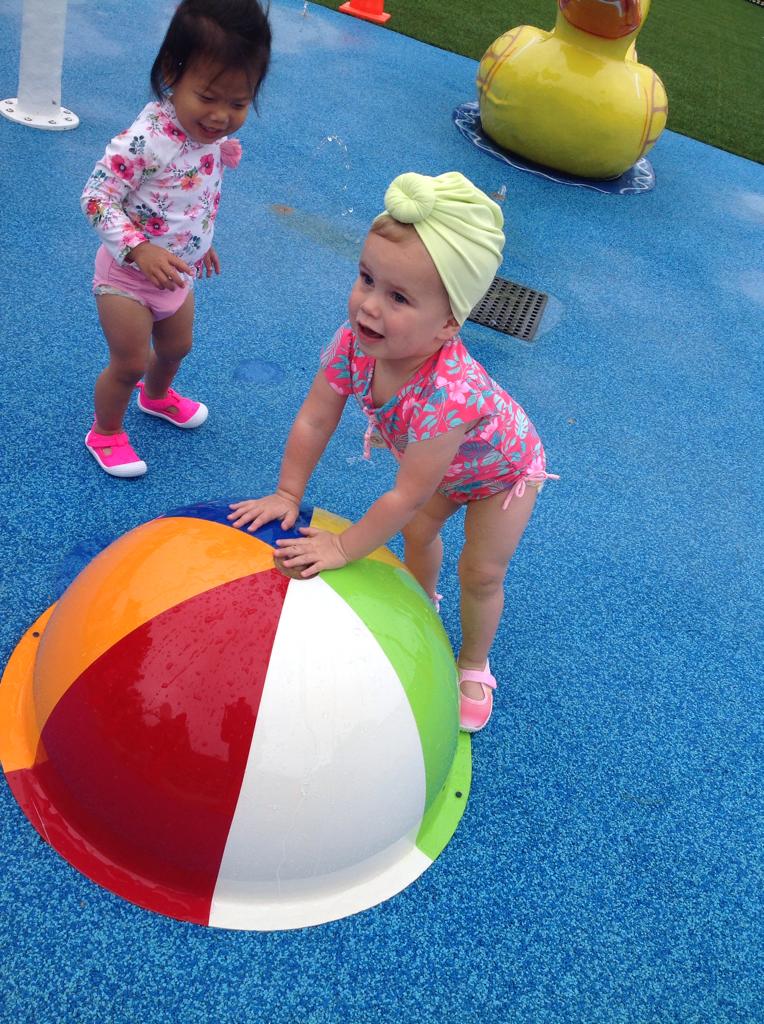Early Preschool children had their first Splash Pad of the season.