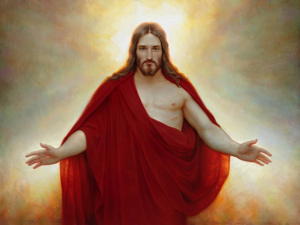 LDS art picture of Christ in a red robe with arms outstretched.