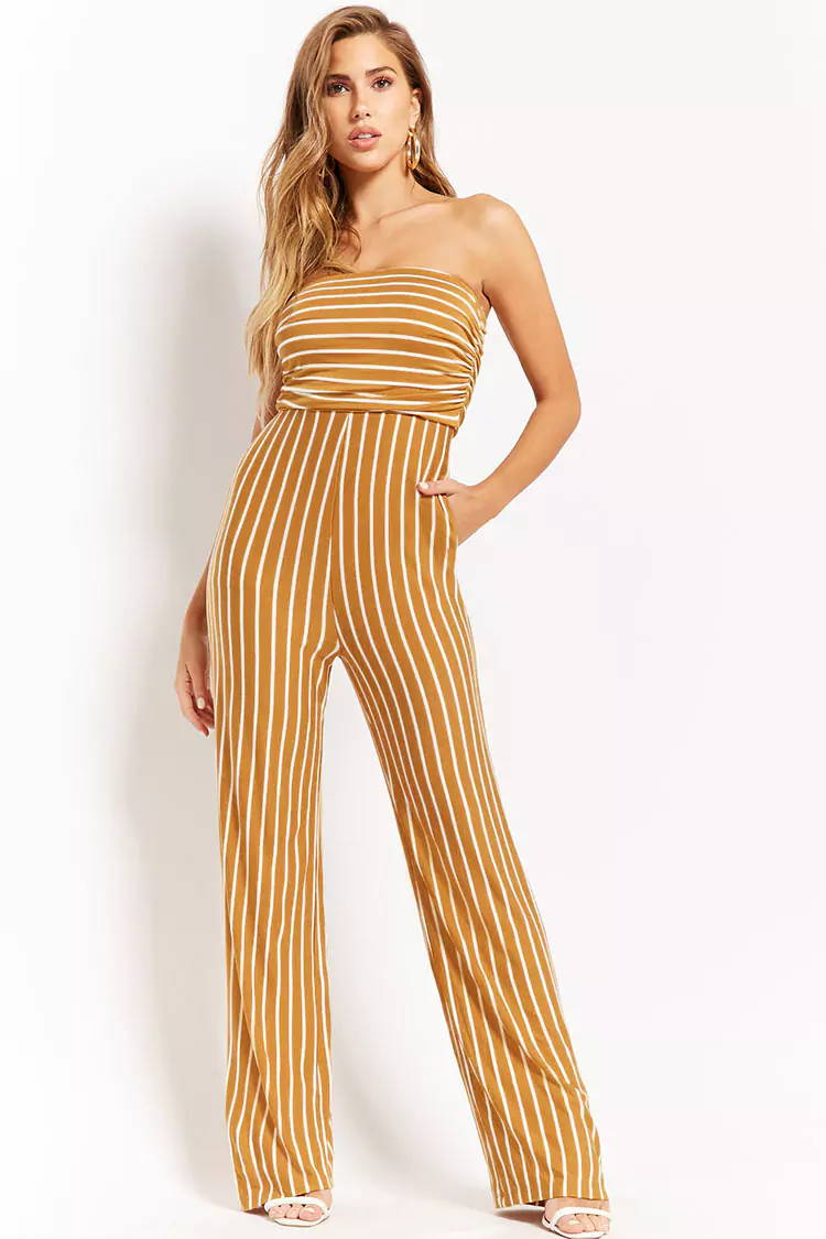 striped yellow spring jumpsuit from bella ella boutique