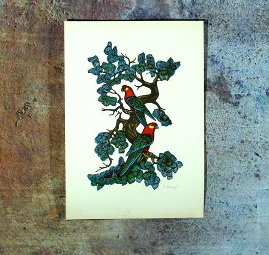 """""""Попугайчики"""" цветная линогравюра с авторской подписью. 70-е Небольшая очень яркая и живая линогравюр. 35х55"""