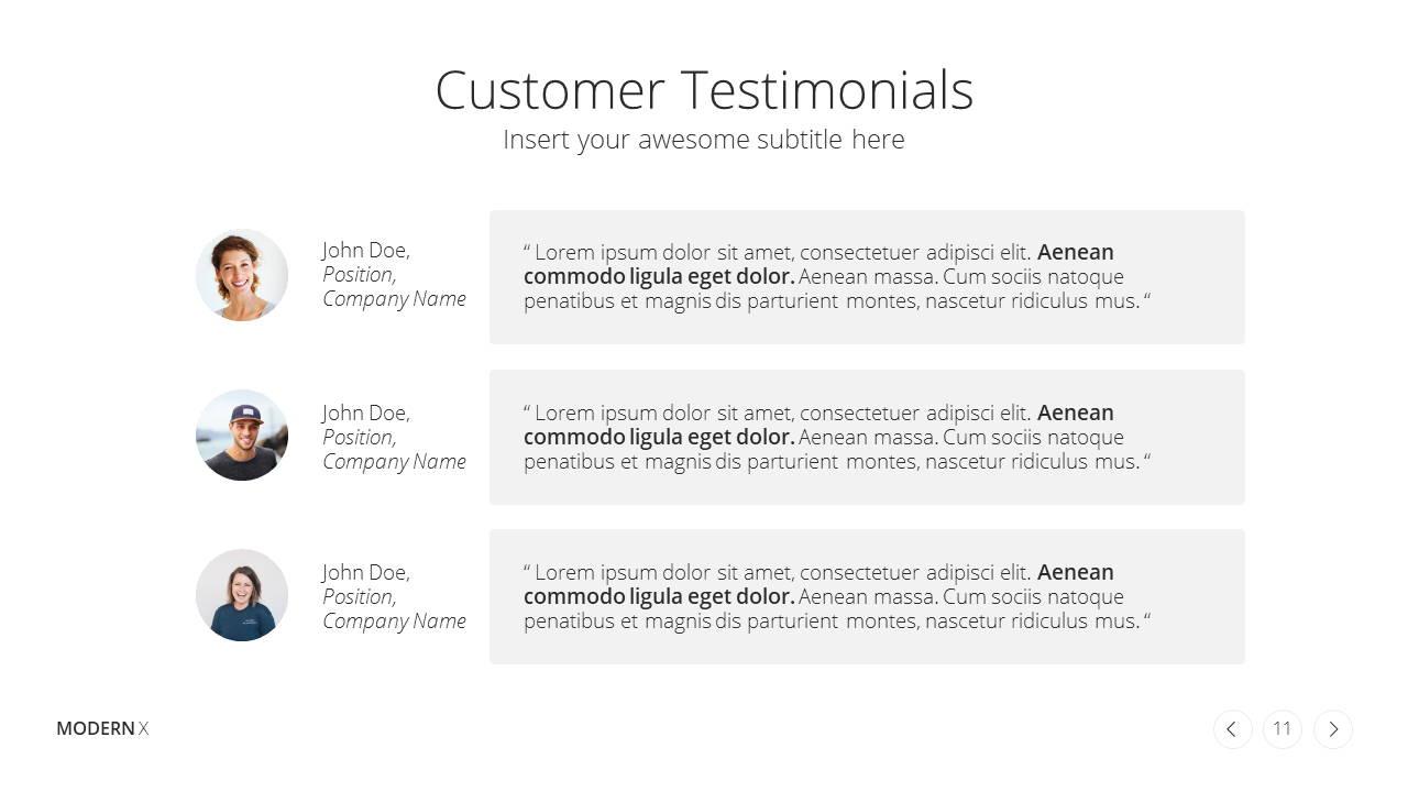 Modern X Digital Marketing Proposal Presentation Template Testimonials