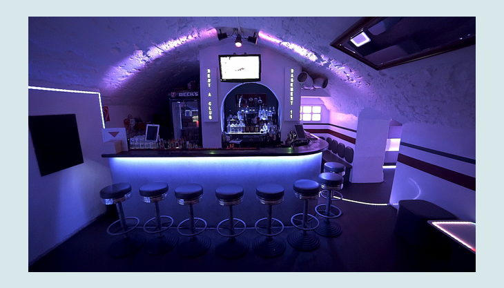 basement theke bar frontansicht led