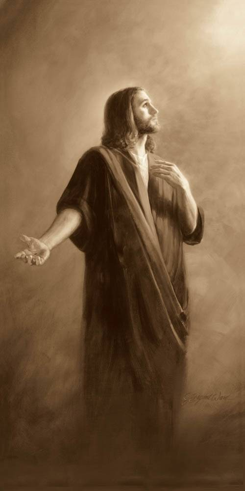 Sepia painting of Jesus looking upwards with HIs arm motioning toward the viewer.