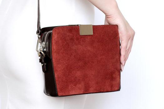 Темно-красная замшевая сумка Luna