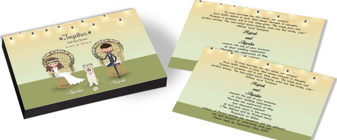 Tri-Color Modern themed Marriage Invitation