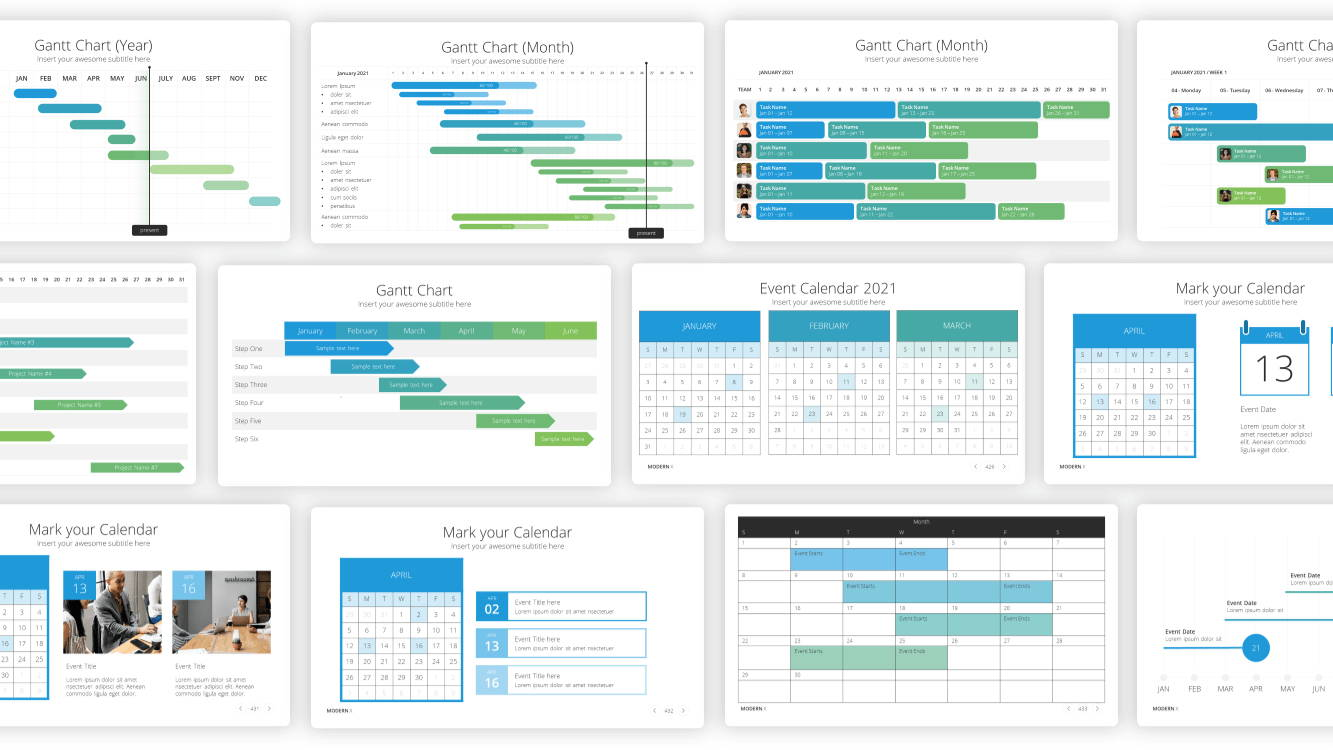 Gantt chart powerpoint template, calendar powerpoint template, infographic powerpoint template, infographic presentation template