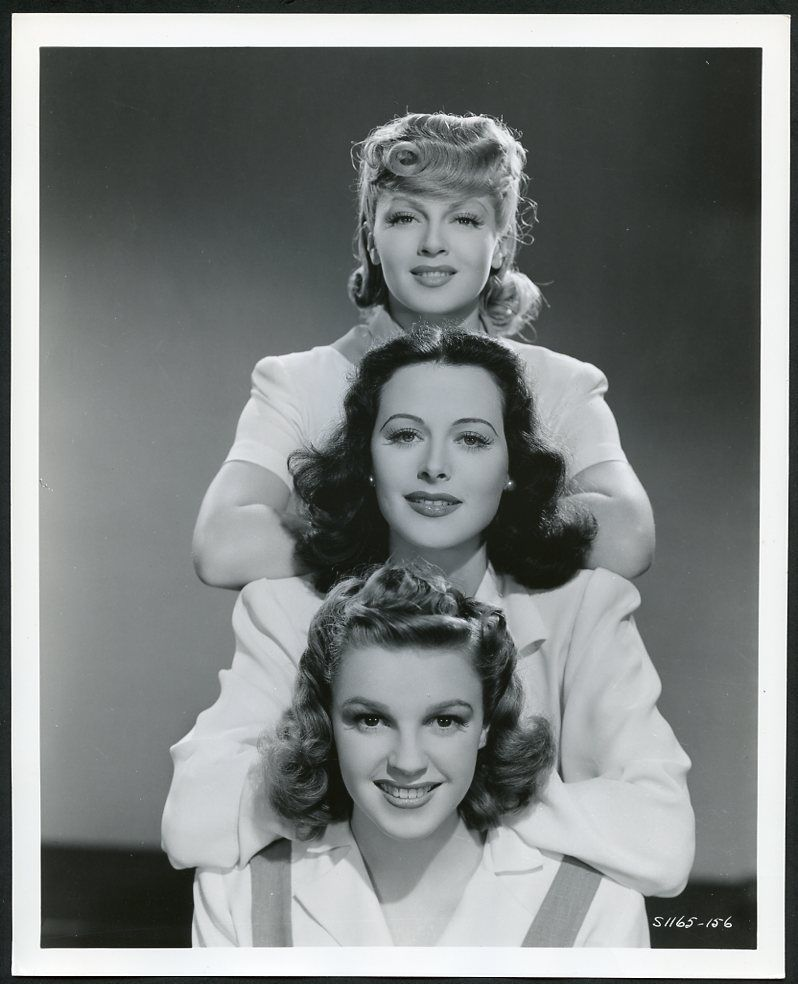 Lana Turner, Hedy Lamarr, and Judy Garland in promotional shot for Ziegfeld Girl